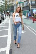 Martha Hunt -               Leaving Victoria's Secret HQ New York City August 21st 2017.